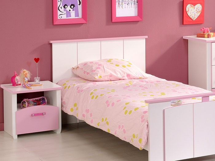 kinderzimmer beauty 3 3 teilig wei rosa lackiert bett nako kommode wohnbereiche kinder. Black Bedroom Furniture Sets. Home Design Ideas