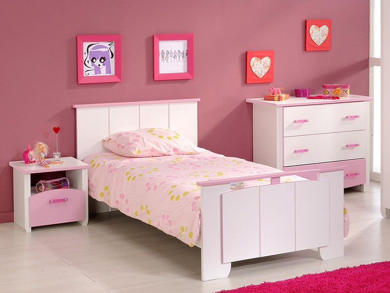 kinderzimmer beauty 3 3 tlg wei rosa lackiert kinderbett nachttisch kommode ebay. Black Bedroom Furniture Sets. Home Design Ideas