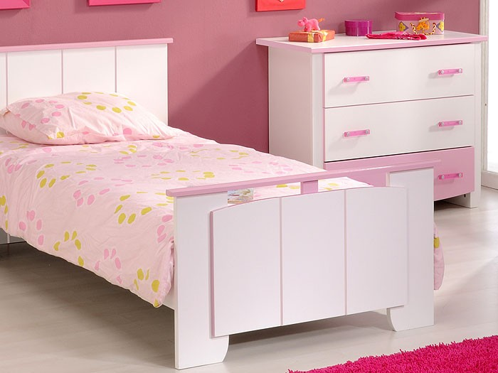 Kinderzimmer Beauty 1, 4-teilig weiß rosa , Schrank + Bett + ...
