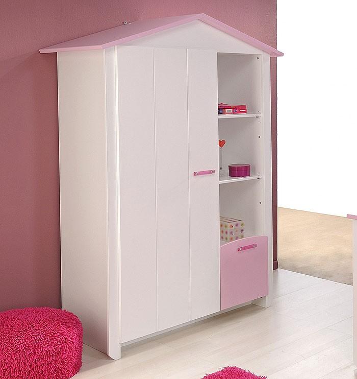 kinderzimmer beauty 1, 4-teilig weiß rosa , schrank + bett + ... - Kommode Kinderzimmer Weis