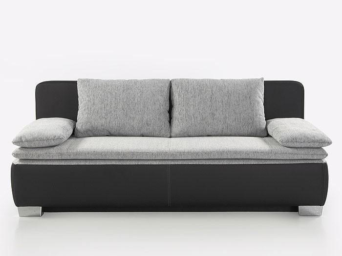 schlafsofa couch duana 202x96cm hellgrau schwarz dauerschl fer sofa wohnbereiche wohnzimmer. Black Bedroom Furniture Sets. Home Design Ideas