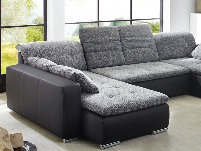 sofa couch ferun 365x200 185cm webstoff anthrazit kunstleder schwarz wohnbereiche wohnzimmer. Black Bedroom Furniture Sets. Home Design Ideas