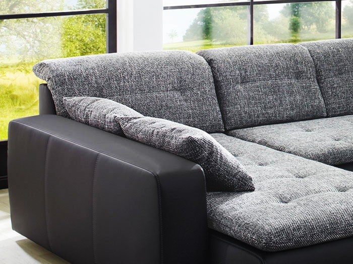 sofa couch ferun 365x200 185cm webstoff anthrazit kunstleder schwarz polsterecke ebay. Black Bedroom Furniture Sets. Home Design Ideas