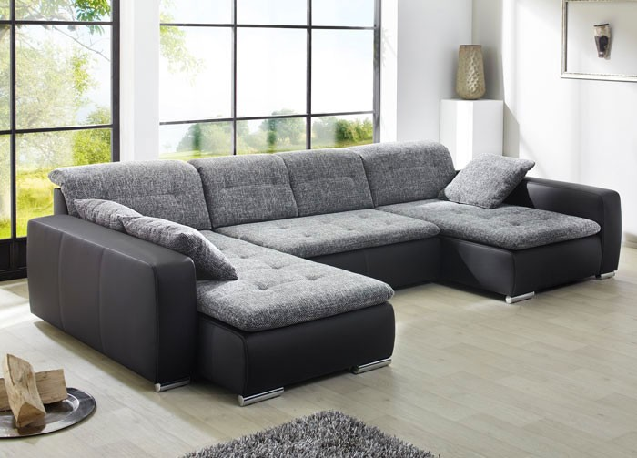sofa couch ferun 365x200 185cm webstoff anthrazit kunstleder schwarz polsterecke ebay. Black Bedroom Furniture Sets. Home Design Ideas