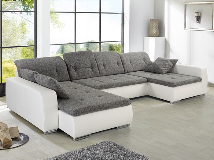 sofa couch ferun 365x200 185 cm webstoff hellgrau kunstleder wei wohnbereiche wohnzimmer sofa. Black Bedroom Furniture Sets. Home Design Ideas