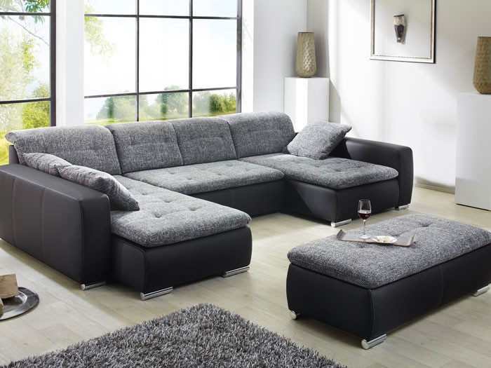 sofa couch ferun 365x200 185cm mit hocker anthrazit schwarz polsterecke ebay. Black Bedroom Furniture Sets. Home Design Ideas