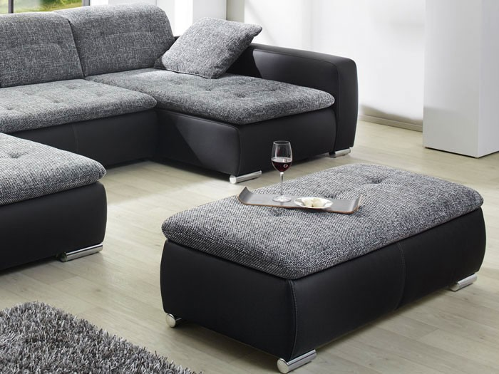 Sofa couch ferun 365x200 185cm mit hocker anthrazit for Couch mit hocker