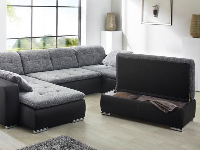 Sofa couch ferun 365x200 185cm mit hocker anthrazit for Sofa mit hocker