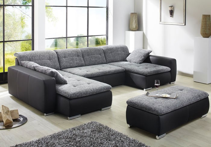 sofa couch ferun 365x200 185cm mit hocker anthrazit schwarz bild. Black Bedroom Furniture Sets. Home Design Ideas