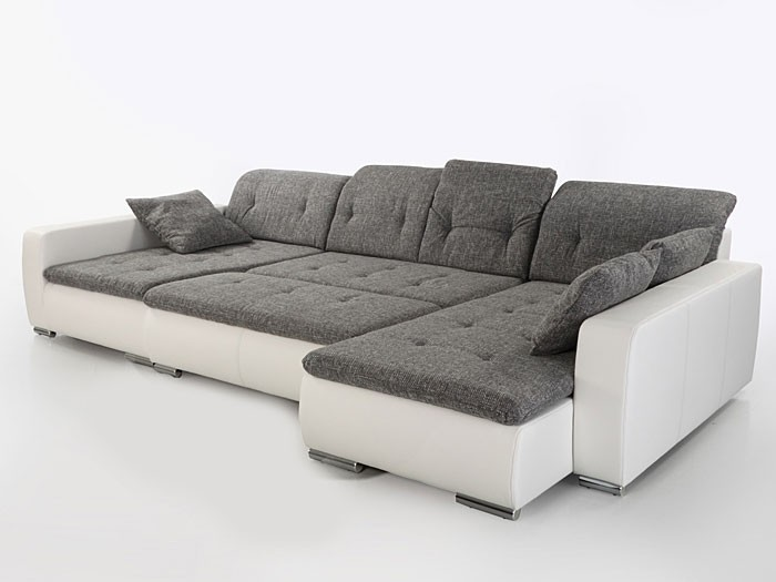 Sofa couch ferun 365x200 185cm mit hocker hellgrau wei for Couch mit hocker