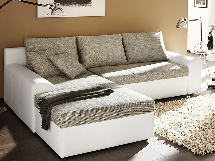 ecksofa sharon 250x193cm grau wei couch sofa schlafsofa polsterecke eckcouch ebay. Black Bedroom Furniture Sets. Home Design Ideas