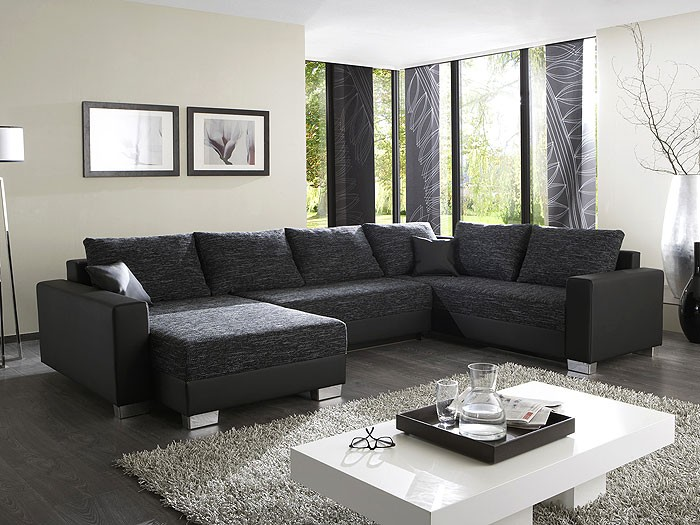 polsterecke amy 320x220 160cm schwarz grau couch sofa ecksofa wohnlandschaft ebay. Black Bedroom Furniture Sets. Home Design Ideas