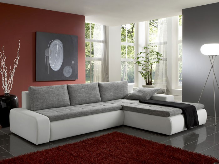 polsterecke alisa 300x210cm grau wei couch sofa ecksofa schlafsofa eckcouch ebay. Black Bedroom Furniture Sets. Home Design Ideas