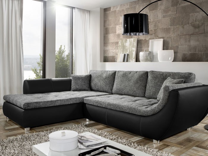 couch avery 287x196cm webstoff anthrazit kunstleder schwarz sofa wohnbereiche wohnzimmer. Black Bedroom Furniture Sets. Home Design Ideas