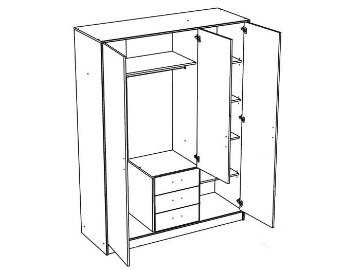 kleiderschrank weiss 3 t rig 148x202x55 cm schlafzimmerschrank schrank prime 4 ebay. Black Bedroom Furniture Sets. Home Design Ideas