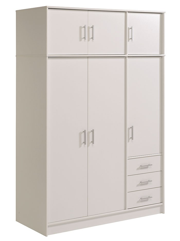 kleiderschrank weiss prime 3 6 t rig 130x195x55 schlafzimmer kleider schrank ebay. Black Bedroom Furniture Sets. Home Design Ideas
