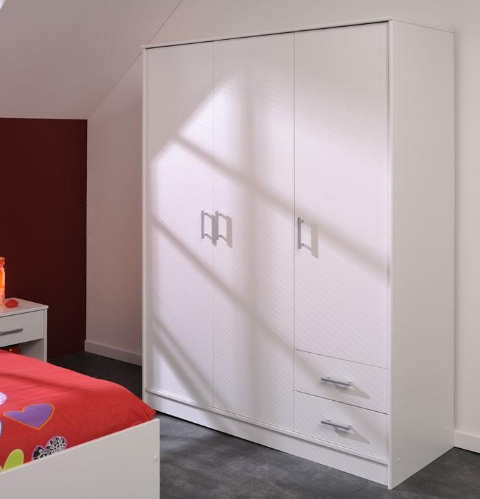 Kleiderschrank weiß hochglanz 3 türig  Kleiderschrank, Drehtürenschrank Prime 2, 133x180x50cm, 3-türig ...