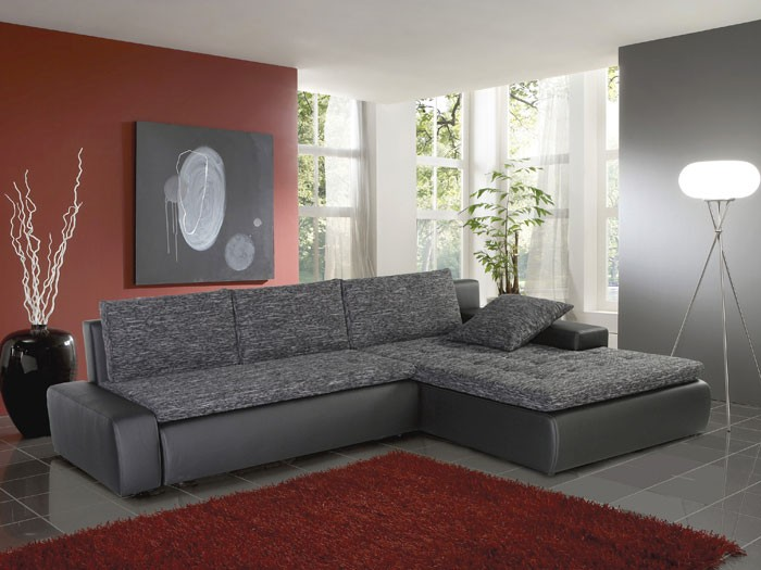 Ecksofa Alisa, 300x210cm, Webstoff schwarz-grau, Kunstleder schwarz ...