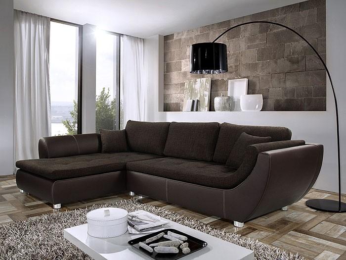 Braunes sofa m belideen for Dunkelbraune wohnwand