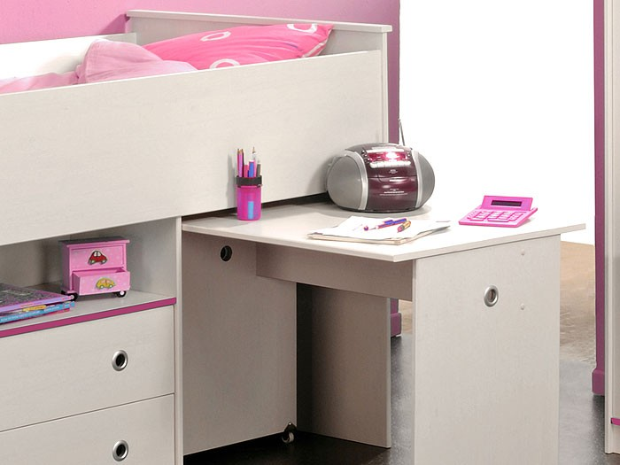 hochbett snoopy 1 110x206x113cm mit schreibtisch kiefer nb wei kinderbett. Black Bedroom Furniture Sets. Home Design Ideas