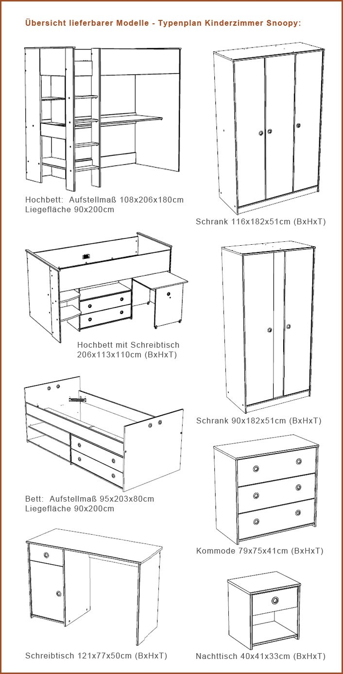 Kinderzimmer Snoopy 7 Kinderbett Schrank Schreibtisch Kiefer-Nb weiß ...