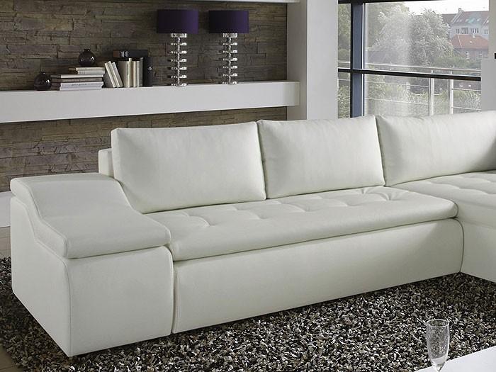Wohnlandschaft lynn 360x211cm wei kunstleder couch sofa for Kunstleder wohnlandschaft