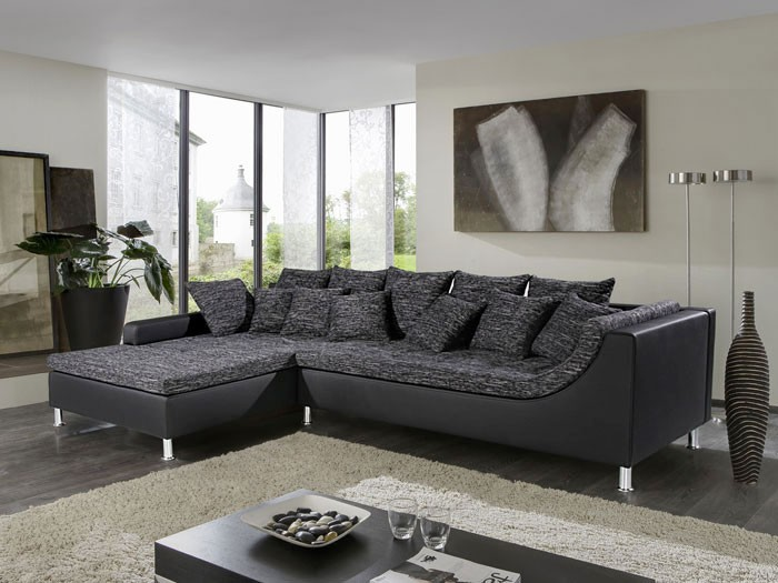 eckcouch madeleine 326x213cm schwarz grau couch sofa polsterecke schlafcouch ebay. Black Bedroom Furniture Sets. Home Design Ideas
