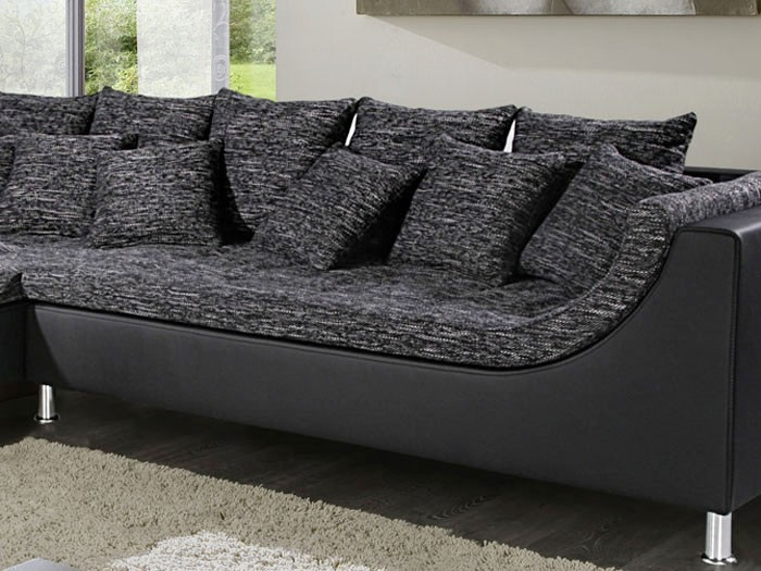 eckcouch madeleine 326x213cm webstoff schwarz grau kunstleder schwarz couch sofa ebay. Black Bedroom Furniture Sets. Home Design Ideas