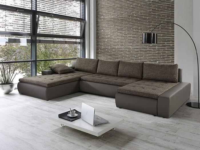 wohnlandschaft cayenne 389x212 162cm braun beige sofa. Black Bedroom Furniture Sets. Home Design Ideas