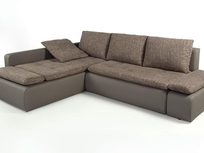 couch sunrise 259x201cm webstoff braun beige kunstleder schlammbraun polsterecke ebay. Black Bedroom Furniture Sets. Home Design Ideas