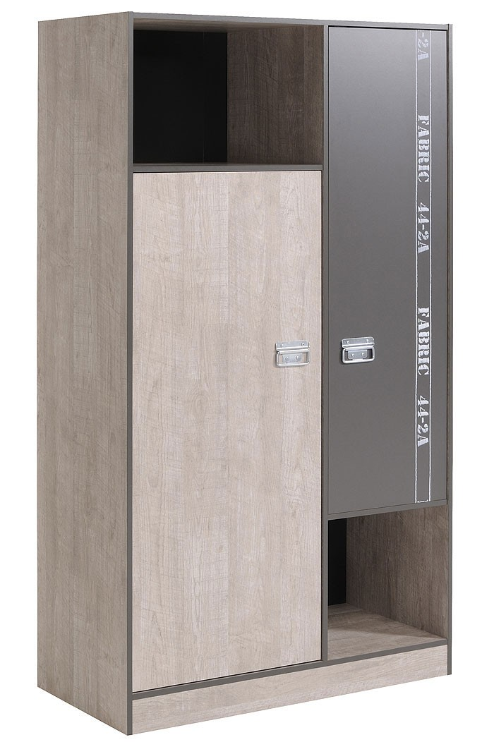 jugendzimmer fabien 2, esche-grau, kleiderschrank + bett + nako