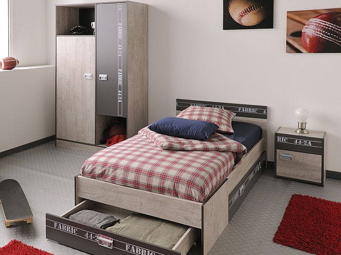 jugendzimmer fabien 2 esche grau kleiderschrank bett. Black Bedroom Furniture Sets. Home Design Ideas