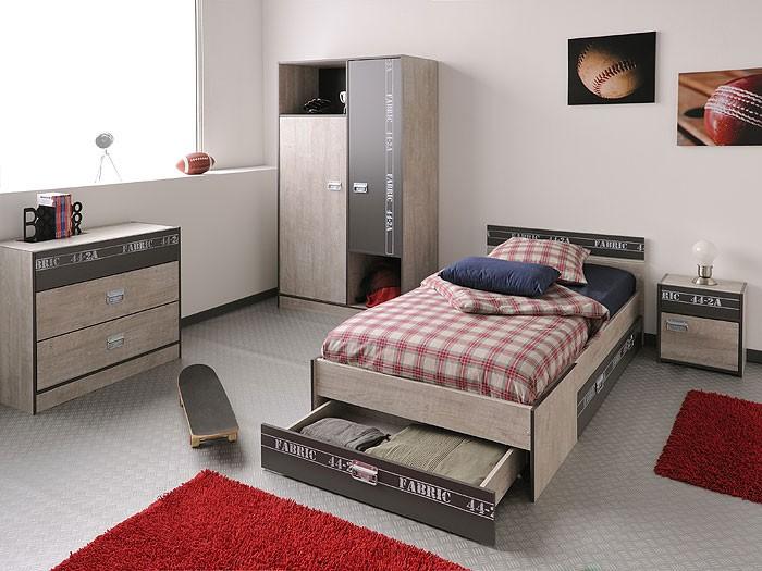 Jugendbett Fabien 4, 90X200Cm, Bett Mit Bettkasten, Esche-Grau