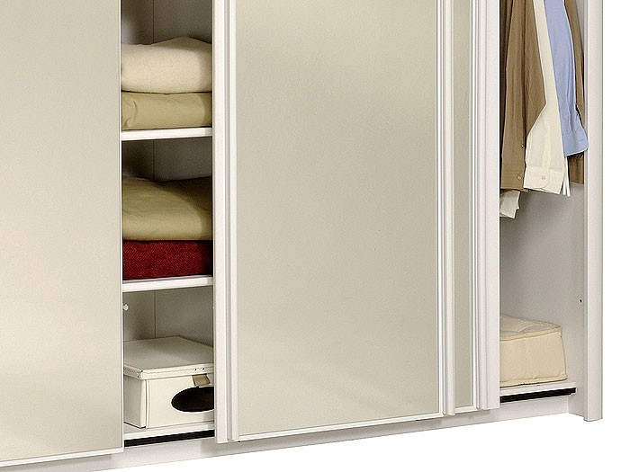 schwebet renschrank weiss 234x217x61cm spiegelt ren kleiderschrank carolin 4. Black Bedroom Furniture Sets. Home Design Ideas