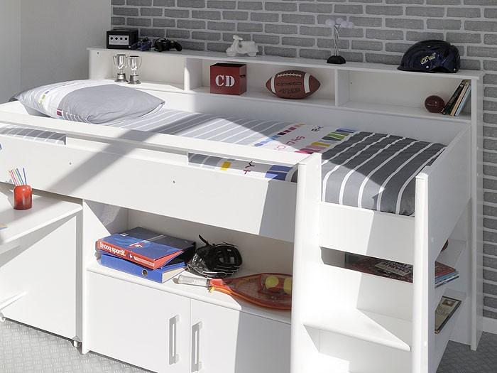 hochbett kinderbett sway 1a 211x132x130cm wei kinderzimmer wohnbereiche schlafzimmer betten. Black Bedroom Furniture Sets. Home Design Ideas