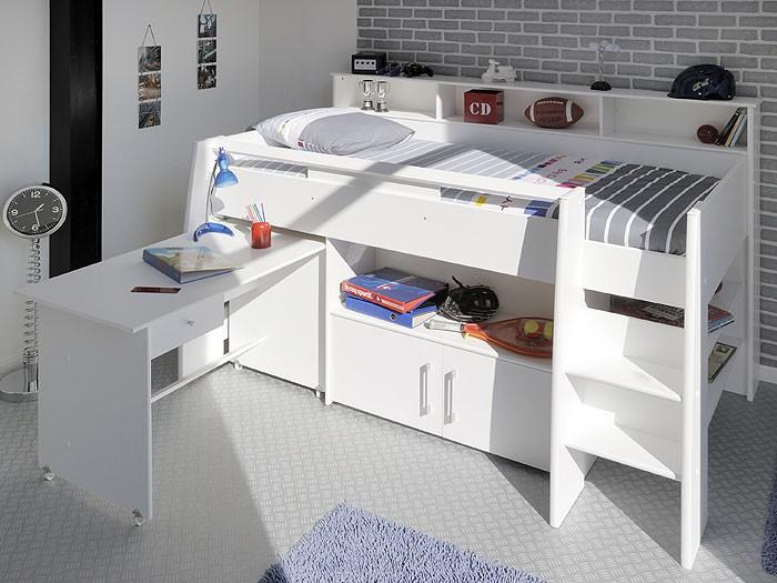 Hochbett, Kinderbett Sway 1A, 211x132x130cm Weiß Kinderzimmer 001
