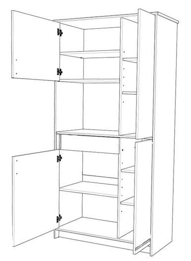 Küchenschrank, Küchenbuffet Cosina 1, 92x182x44cm, weiß Absetzung ... | {Küchenschrank weiß hoch 59}