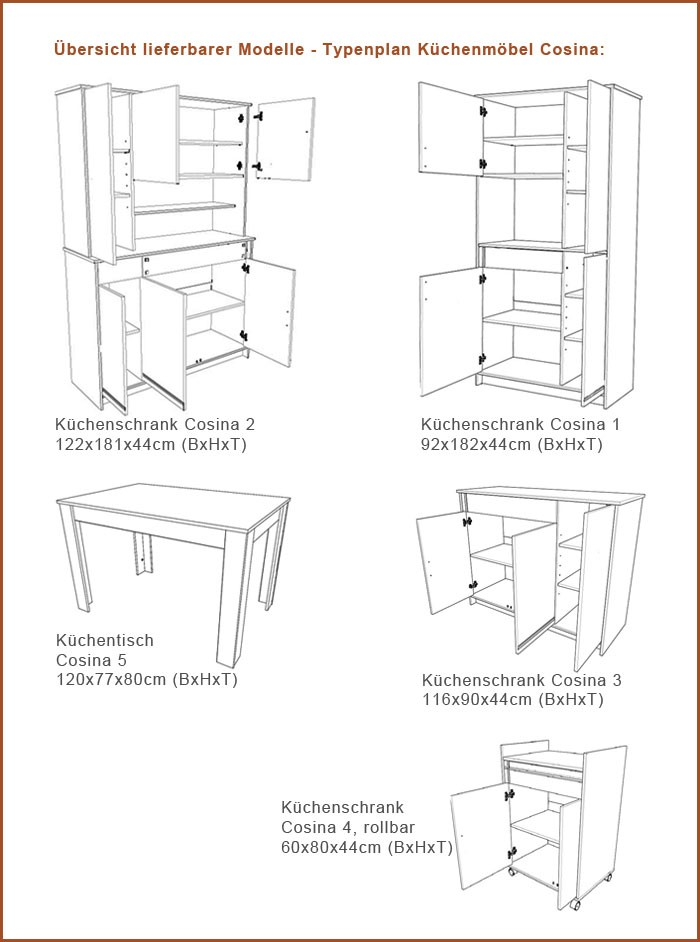 Maße küchenschränke  Küchenschrank, Küchenbuffet Cosina 2, 122x181x44cm, weiß Abs. Alu ...