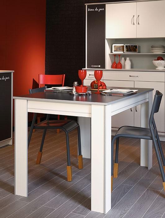 Küchentisch, esstisch 120x77x80cm, weiß grau abs. alu ...