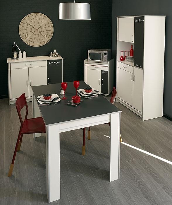 Küchenmöbel Komplett Cosina 9, 4 Teilig Weiß, Schrank Anrichte Tisch
