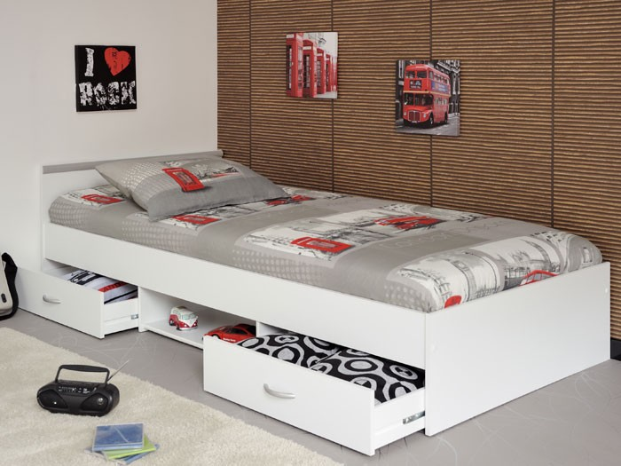 jugendbett leader 1 1 90x200cm bett mit 2 bettkasten weiss. Black Bedroom Furniture Sets. Home Design Ideas