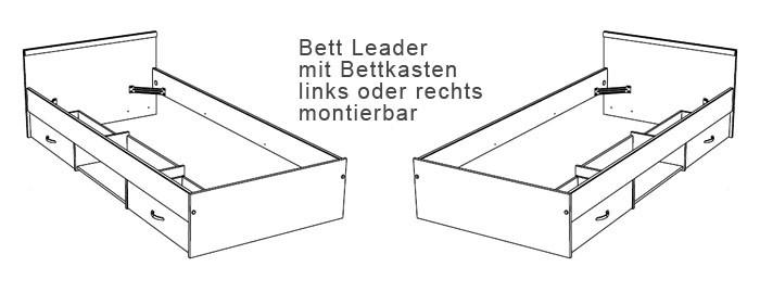 jugendbett leader 2.1, 90x200cm, bett mit 2 bettkasten, buche-nb, Hause deko