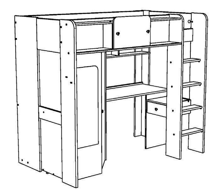 hochbett kinderbett 206x178x118cm weiss lilafarben schrank. Black Bedroom Furniture Sets. Home Design Ideas