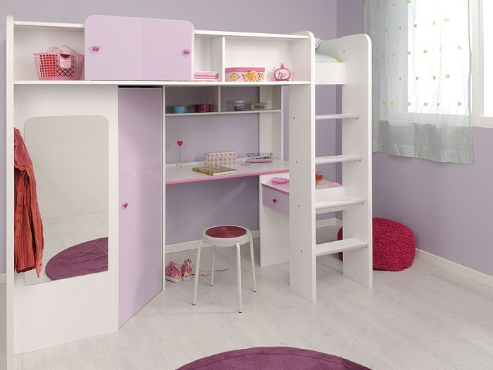 hochbett kinderbett 206x178x118cm weiss lilafarben schrank schreibtisch janine 1 ebay. Black Bedroom Furniture Sets. Home Design Ideas