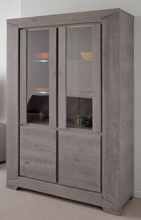 vitrine highboard eiche grau 126x188x44cm. Black Bedroom Furniture Sets. Home Design Ideas