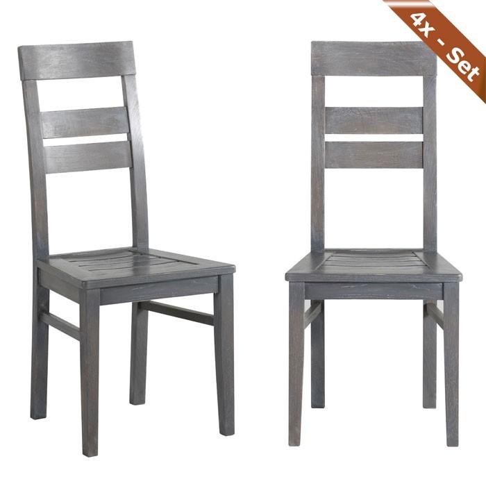 4x holzstuhl heros eiche grau stuhlgruppe esszimmer. Black Bedroom Furniture Sets. Home Design Ideas