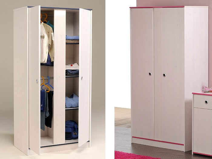 kleiderschrank snoopy 11 90x182x51cm 2 t rig wei pink blau wohnbereiche kinder. Black Bedroom Furniture Sets. Home Design Ideas