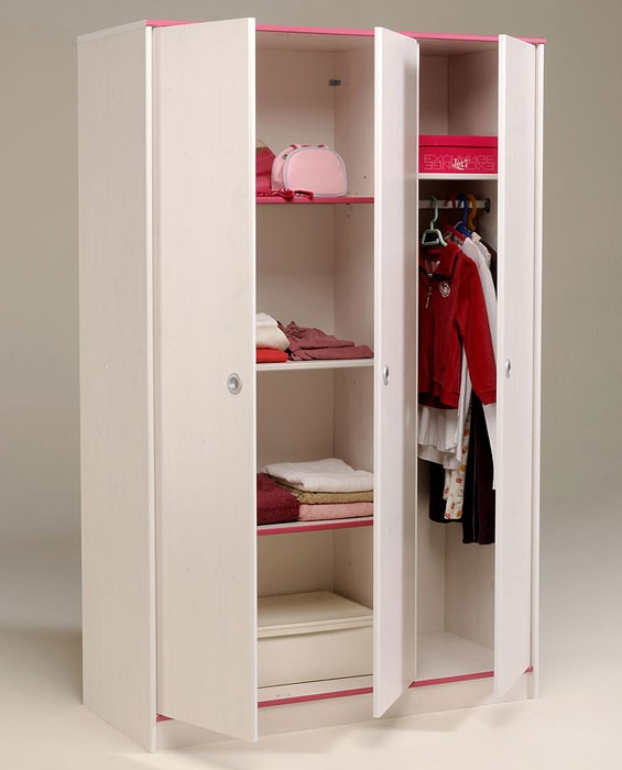 kleiderschrank 3 t rig 116x182x51cm wei pink blau schlafzimmer snoopy 12 ebay. Black Bedroom Furniture Sets. Home Design Ideas