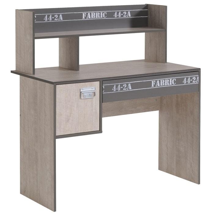 schreibtisch fabien 8 108x114x56cm esche grau regalaufsatz wohnbereiche kinder. Black Bedroom Furniture Sets. Home Design Ideas
