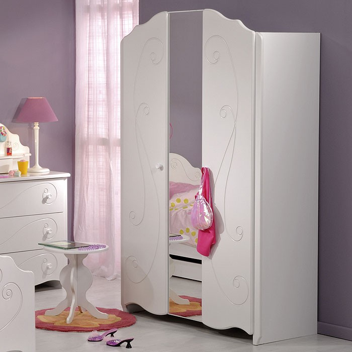 kleiderschrank wei lackiert 116x188x52cm 2 t rig spiegel kinderzimmer anne 13 ebay. Black Bedroom Furniture Sets. Home Design Ideas